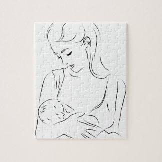 Mutter-Brust-fütterndes Säuglings-Baby Puzzle