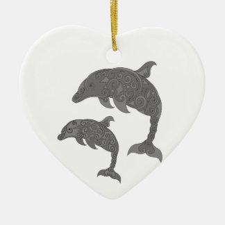 Mutter-Delphin mit Baby Keramik Herz-Ornament
