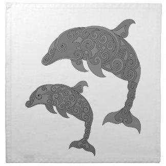 Mutter-Delphin mit Baby Serviette
