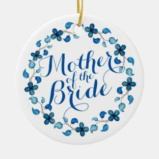 Mutter der Braut-blauen Blumenhochzeits-Verzierung Keramik Ornament