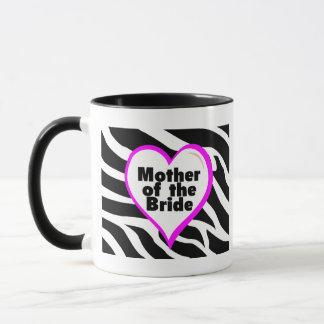 Mutter der Braut (Herzzebra-Streifen) Tasse