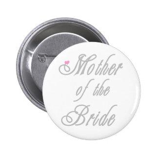 Mutter der Braut-noblen Grau Runder Button 5,1 Cm