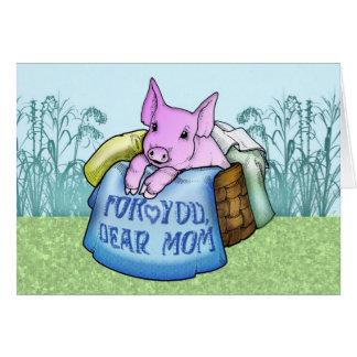 Mutter, der Tag der Mutter, niedliches Schwein in Grußkarte