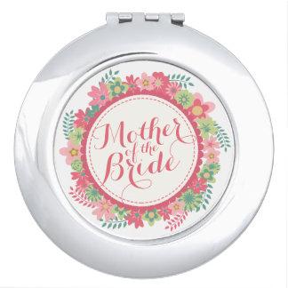 Mutter des Braut-Blumenhochzeits-Vertrags-Spiegels Taschenspiegel