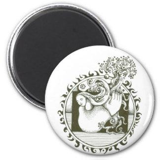 Mutter Erden-Sammlung in Schwarzweiss Runder Magnet 5,1 Cm