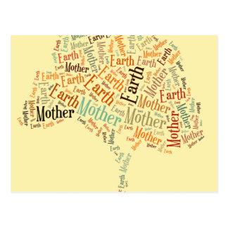 Mutter Erden-Wort-Wolke in der Form des Baums Postkarte