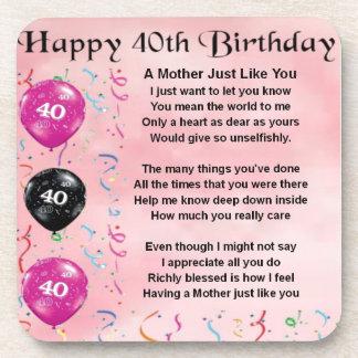 Mutter Gedicht   40. Geburtstag Untersetzer