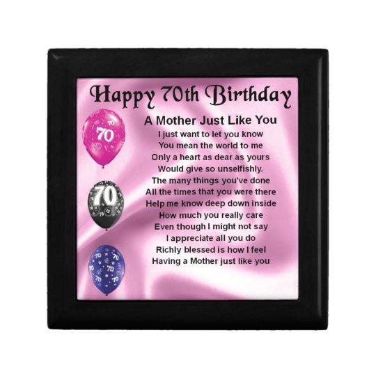 Mutter Gedicht 70 Geburtstag Geschenkbox Zazzlede