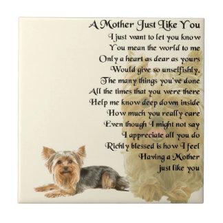 Mutter-Gedicht - Entwurf Yorkshires Terrier Fliese