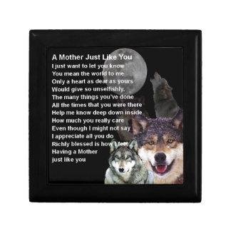 Mutter-Gedicht - Wolf-Entwurf Schmuckschachtel