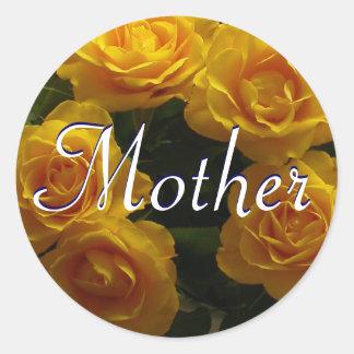 Mutter-gelber Rosen-Aufkleber Runder Aufkleber