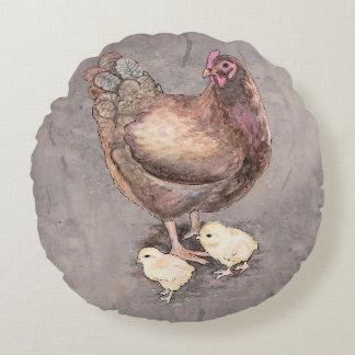 Mutter-Henne und Küken-Aquarell Rundes Kissen