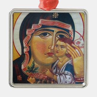 Mutter Mary und Jesus-Kunst Quadratisches Silberfarbenes Ornament