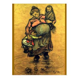 Mutter mit zwei Kindern Postkarten