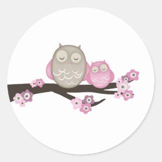 Mutter Owl u. Aufkleber des Baby-{Rosa} |