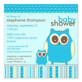 Mutter Owl u. Baby-Eulen-Blau-Babyparty Quadratische 13,3 Cm Einladungskarte