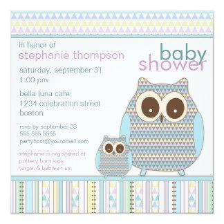 Mutter Owl u. Baby-Eulen-Jungen-Babyparty Quadratische 13,3 Cm Einladungskarte