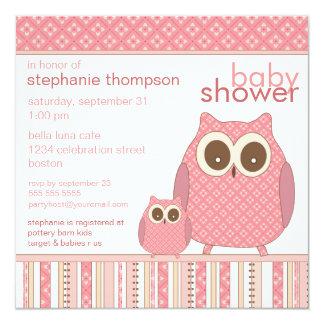 Mutter Owl u. Baby-Eulen-Rosa-Babyparty Quadratische 13,3 Cm Einladungskarte