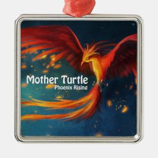Mutter-Schildkröte-Produkte Quadratisches Silberfarbenes Ornament
