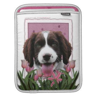 Mutter-Tag - rosa Tulpe-englischer SpringerSpaniel iPad Sleeve