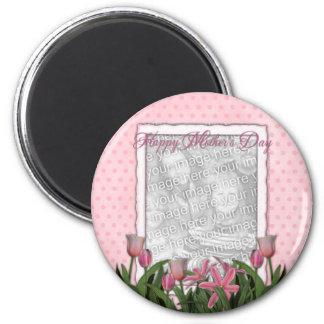 Mutter-Tag - rosa Tulpen - addieren Ihr eigenes Runder Magnet 5,7 Cm