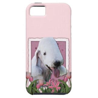 Mutter-Tag - rosa Tulpen - Bedlington Terrier iPhone 5 Hüllen