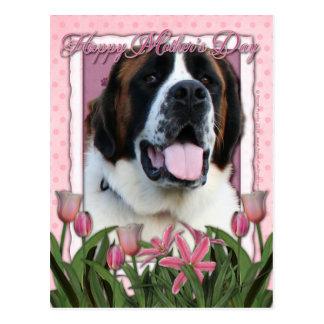Mutter-Tag - rosa Tulpen - Bernhardiner - Mae Postkarte