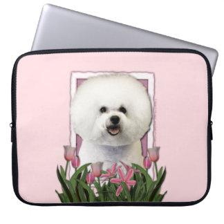 Mutter-Tag - rosa Tulpen - Bichon Frise Laptop Sleeve Schutzhüllen