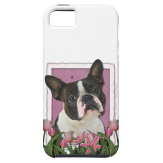 Mutter-Tag - rosa Tulpen - Boston Terrier iPhone 5 Hülle