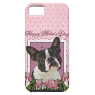 Mutter-Tag - rosa Tulpen - Boston Terrier iPhone 5 Etui
