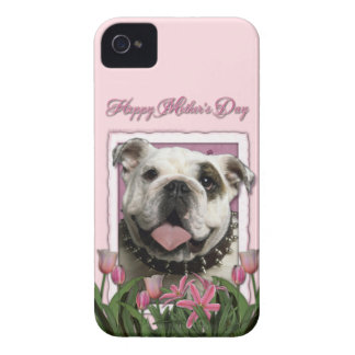 Mutter-Tag - rosa Tulpen - Bulldogge iPhone 4 Case-Mate Hülle