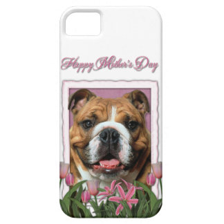 Mutter-Tag - rosa Tulpen - Bulldogge iPhone 5 Schutzhülle