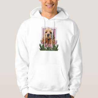 Mutter-Tag - rosa Tulpen - Cocker spaniel Hoodie