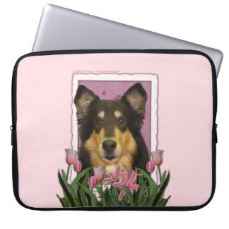 Mutter-Tag - rosa Tulpen - Collie - Caroline Computer Schutzhülle