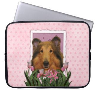 Mutter-Tag - rosa Tulpen - Collie - Natalie Laptop Schutzhülle