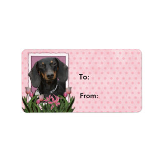 Mutter-Tag - rosa Tulpen - Dackel - Winston Adressaufkleber