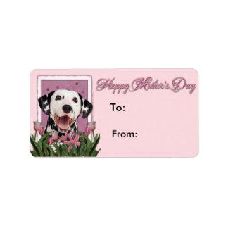 Mutter-Tag - rosa Tulpen - Dalmatiner Adressaufkleber
