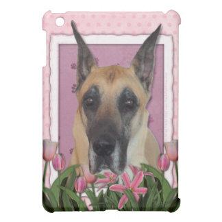 Mutter-Tag - rosa Tulpen - Deutsche Dogge iPad Mini Hüllen