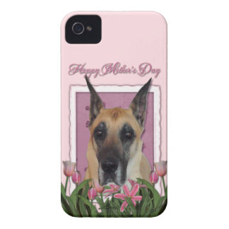 Mutter-Tag - rosa Tulpen - Deutsche Dogge iPhone 4 Case-Mate Hülle