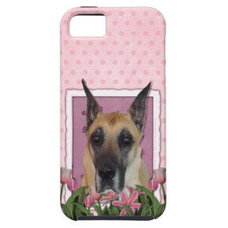 Mutter-Tag - rosa Tulpen - Deutsche Dogge iPhone 5 Hüllen