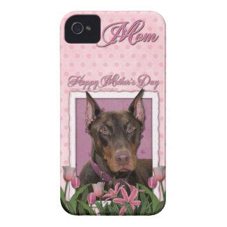 Mutter-Tag - rosa Tulpen - Dobermann - Rot - felsi Case-Mate iPhone 4 Hüllen