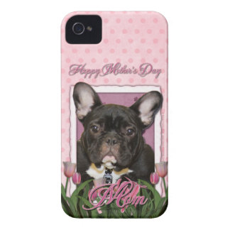 Mutter-Tag - rosa Tulpen - Frenchie - aquamarin iPhone 4 Cover