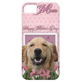 Mutter-Tag - rosa Tulpen - golden retriever iPhone 5 Etui