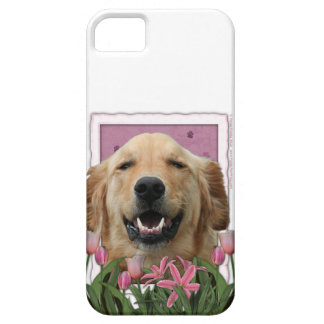 Mutter-Tag - rosa Tulpen - golden retriever iPhone 5 Etuis