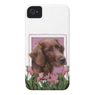 Mutter-Tag - rosa Tulpen - Irischer Setter iPhone 4 Hüllen