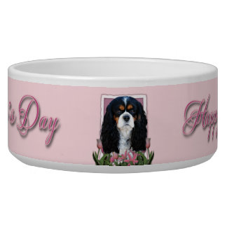 Mutter-Tag - rosa Tulpen - Kavalier - Tri Farbe Hundenäpfe