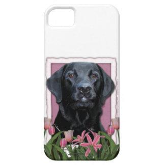 Mutter-Tag - rosa Tulpen - Labrador - Schwarzes -  iPhone 5 Schutzhüllen