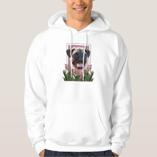Mutter-Tag - rosa Tulpen - Mops Hoodie