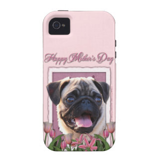 Mutter-Tag - rosa Tulpen - Mops iPhone 4/4S Case