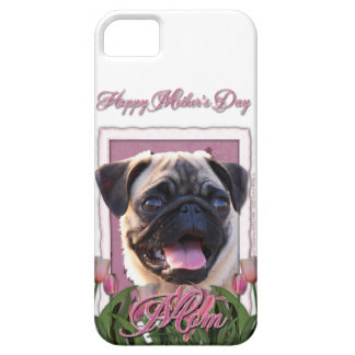 Mutter-Tag - rosa Tulpen - Mops iPhone 5 Case